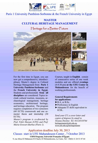 Masters in Cultural Heritage Management
